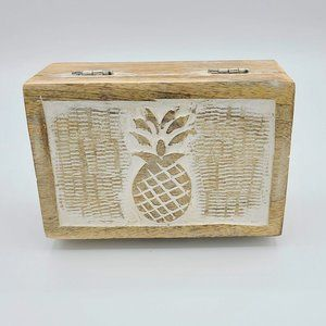 Wood Carved Pineapple Jewelry Trinket Decor Box
